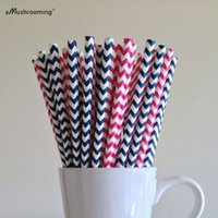 Atacado- (25 peças / lote) Pink e Navyl Blue Chevron Party Paper Pães Baby Shower Bridal Shower Wedding First Birthday Party Supplies