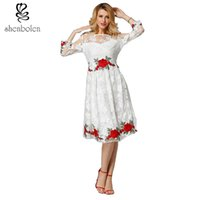Wholesale Womens Sheer Briefs - Womens Vintage Floral Formal Evening Bridesmaid Dress 3 4 Sleeve Hand Embroidered flowers Cocktail Formal Swing Gowns