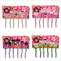 Wholesale Women Make Up Gift Set - New Design 6 pcs Flower Makeup Brushes Rose shaped Makeup Blush Tools crystal Foundation Powder Make Up Brushes Women Gift Set
