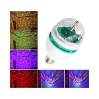 renkli ampul dönüyor toptan satış-En iyi LED Kristal Sahne Işık Otomatik Dönen Sahne Etkisi DJ lamba mini Sahne Ampul 3 W E27 RGB aydınlatma Tam Renk Perakende paketi ile