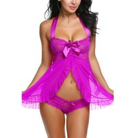 Wholesale Sexes Plus Dress - Valentine's Robe Sexy Costumes Halter Nightwear Babydoll Sexy Women Erotic Nightwear Dress bow temptation sex toy lenceria 31027