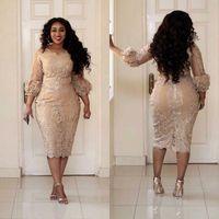 güzel seksi elbiseler toptan satış-2017 Seksi Artı Boyutu Kokteyl Elbiseleri Jewel Boyun Aplike 3/4 Kollu Fermuar Çay Boyu Balo Elbise Moda Şampanya Pretty Kadın Parti Elbise