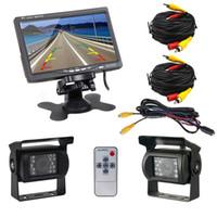 "Wholesale Bus Camera Dvr - Dual Backup Camera & 7"" LCD Car Rear View Monitor Kit for Truck Bus RV 18 IR LED Night Vision Waterproof Rearview Reverse car dvr camera"