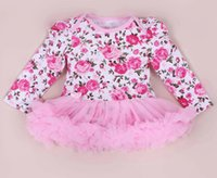Wholesale Girls Leopard Lace - First Birthday Costumes For Baby Girls Cute Rompers infant Lace Ruffle Princess Jumpsuits Newborn Flower Leopard Dress Wedding Clothes