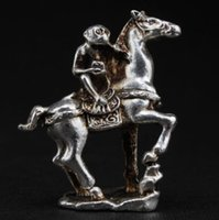 Wholesale Silver Horse Statue - Exquisite Interesting Chinese Old Handwork Miao Silver Monkey on Horse Auspicious Statue