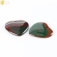 Wholesale Diy Semi Precious Stones - CSJA Natural Love Heart Pendants Dark Green Dragon Veins Agate Onyx Pendant Semi-precious Stone Beads Lover Vintage DIY Jewellery Gift E326