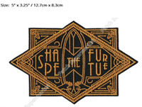 "Wholesale Futures Surf - 5"" LARGE Shape the Future Surf Art Deco Rider Ocean Surf Travel Souvenir Patches Outdoor Clothing Iron On Badge baseball cap"