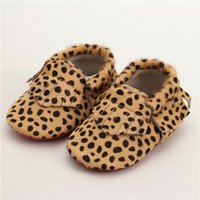 Wholesale Spotted Baby Shoes - Wholesale- Genuine Leather First Walkers Leopard print Baby shoes Horse hair Leather Baby moccasins spots boys Shoes Free shipping