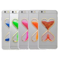 Wholesale Hourglass Liquid - New Fashion Liquid Quicksand Heart-Shaped Transparent Clear Hourglass Soft Anti-Scratch TPU Case Protective Cover For iphone 6 7 Plus 5