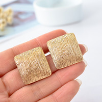 Wholesale Titanium Ear Cuffs - New sweet contracted geometric square clip earrings ear clip alloy electroplating golden girl wedding jewelry