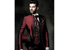 Wholesale Mens Wedding Suits Red Tie - 2017 High Quality One Button Dark Red Groom Tuxedos Groomsmen Mens Wedding Suits Prom Bridegroom (Jacket+Pants+Vest+Tie).