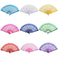 Wholesale White Lace Umbrella Wholesale - 10 Colors Lace Spanish Fabric Silk Folding Hand Held Dance Fans Flower Party Wedding Prom Dancing Summer Fan Accessories