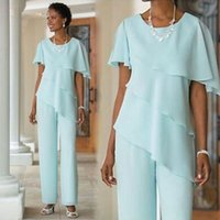 Wholesale two piece wedding dresses mother - Two Pieces Sage Chiffon Mother of the Bride Pant Suits 2017 Tiered Wedding Guests Dresses Plus Size Mother of The Bride Trouser Suit