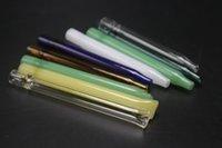 dicke mundgeblasene glasrohre großhandel-7 Farben Pfeife Hohe Qualität Dickes Glas Mundgeblasenem Glas Ölbrenner Rohre Klieschen Rigs Wasserleitung
