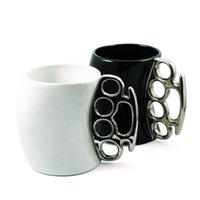 Wholesale Wholesale Brass Knuckle Mug - Wholesale- Free Shipping 4Pieces Fisticup : Ceramic Coffee Mug with Brass Knuckle Handle