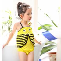 Wholesale Swimsuit Bee - Children swimwear yellow bee one-piece swimsuit Girl Korean female baby child girls 2 3 4 5 6 7 years old kids bikinis