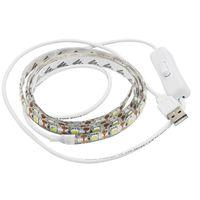 Wholesale Blue Smd Strip 1m - USB 5V LED Strip 5050 SMD TV Background Lighting 1M 60LEDs Warm White   White with Switch