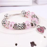 Wholesale Ocean Heart Sets - Silver Plated Sweet Heart Bead Pandora Bracelet Ocean Charm Pan Bracelets & Bangles Fashion Jewelry Gift Pulseras