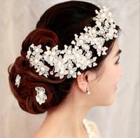 inci düğün saç tarağı toptan satış-Düğün Inci Çiçek Bandı Saç Tarak Hairband Saç Süsleri Gelin Düğün Aksesuarları NE594