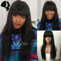 Wholesale Lace Front Wigs Fringe - Brazilian Virgin Hair Full Fringe Wig Human Hair Glueless Lace Front Wigs With Bangs Straight Full Lace Human Hair Wigs