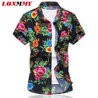 Wholesale Mens Silk Shirts Long Sleeve - Wholesale- LONMMY 2016 Summer Mens floral shirts Silk cotton Short sleeve Mens dress shirts High quality Slim Flower Camisa Casual M-6XL