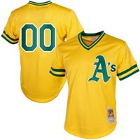 Maillots de baseball Oakland Athletics personnalisés Mitchell Ness Yellow 100% cousu Throwback Mesh Batting Practice Jersey