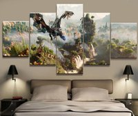 Wholesale game room art - 5 Panel Horizon Zero Dawn Game Canvas Printed Painting For Living Room Picture Wall Art HD Print Decor Modern Artworks Poster