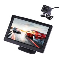 Wholesale Reverse Lcd Displays - 5 Inch TFT LCD Rear View Display Monitor + Waterproof Night Vision Reversing Backup Rear View Camera High Quality Car Monitors