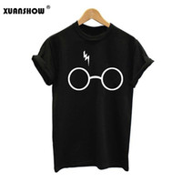 Wholesale m s glasses - 2017 New Harry Potter T Shirt Women New Printed T-shirt Short Sleeve Cotton Lightning Glasses T Shirts Top Tees S-XXL