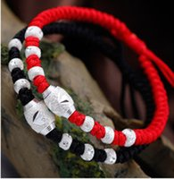 Wholesale Traditional Chinese Red Beads - Bracelet Silver Jewelry Accessories Red Rope Braided s925 Aterling Silver DIY Creative Transfer Beads The Chinese National Wind Jewelry