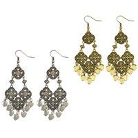 Wholesale Golden Earrings Hooks - idealway Retro Style Silver Golden Bohemian Carving Flower Dangle Drop Heart Tassels Hook Earrings 2 Colors