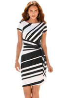 Wholesale Elegant Black Stripes Dress - Girl Women Summer Black White Stripe Knot Sheath Dress Office Formal Evening Party Elegant Short Bodycon Dresses