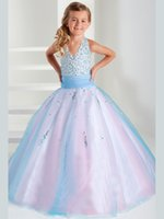 Wholesale Wedding Gown Purple Stone - Sell like hot cakes! Hot Sale Elegant Halter Stoned Bodice Girls Pageant gown Kid's Children Flower Ball Gowns