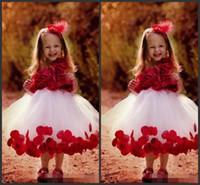 Wholesale Pinterest Wedding Dresses - Pinterest Popular Tutu Flower Girl Dresses 2018 Sleeveless Kids Wear Red Applique Wedding Gowns Kate Tea Length Little Girl Flower Dress