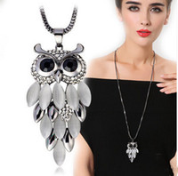 Wholesale Luxury Opal Jewelry - 2017 Vintage Owl Pendant Necklace Long Sweater Necklaces Luxury Opal Rhinestone Charm Necklace Fashion Statement Jewelry Lots Wholesale