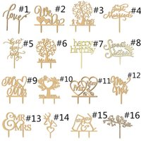 Wholesale Woods Cake - Wooden Cake Topper Wood Picks Rustic Wedding Party Kids Happy Birthday Table Decoration Married Love Cake Decorating Heart Mr Mrs Xmas Gift