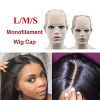 Wholesale Glueless Lace Front Wigs Cap - Hairnet Mono Net Lace Front Wig Cap Base For Making Wig With Adjustable Straps Glueless Weaving Cap With Anti-slip Strip Edge