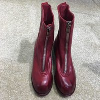 Wholesale Skins Half - Half boots 2017 new horse skin boots low heel round toes fashion genuine lesther solid autumn and winter women shoes