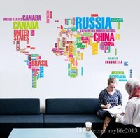 Nuevo Diseño 122 * 74 Cm Wall Sticker Mapa del Mundo para Aprender Estudio / arte Words Sayings Vinilo Wall Decals
