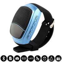 telefonhanduhr großhandel-B90 Smart Uhren Stoppuhr Wecker Sport Musik Uhr Freisprecheinrichtung FM Radio Selbstauslöser Anti-verlorene Alarm Bluetooth Lautsprecher