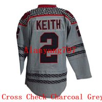 Wholesale Charcoal Material - Men Hockey KEITH #2 Cross Check Charcoal, Home, Jeans Material, New Third, Old Time, Practice, Third, Throwback Embroidered jersey