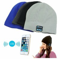 Bluetooth Music Knitted Hat Soft Warm Wireless Speaker Receiver Outdoor Sports Smart Cap Headset Headphone Para iphone 6s Samsung DHL