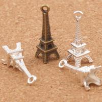 torres eiffel venda por atacado-3D Paris Torre Eiffel Liga Pequenos Encantos Pingentes 100 pçs / lote MIC Bronze Banhado A Prata Elegante 22mm * 4mm L448