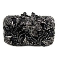 Wholesale Black Clutch Studded - Wholesale- Black Women Bag flower shape studded diamond clutch bags fashion classic jewel Purse prom and drinking party Or the party 88611