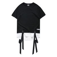 Wholesale Block Shirt - Color Block Ribbon Curved Hem Hiphop T-shirt Short Sleeve 2017 Summer New Fashion Men's Tshirt Casual Tee Shirts 2 Colors 307SR