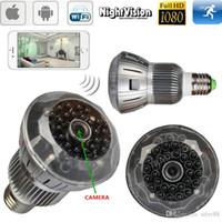 Wholesale H 264 Cam - Light Bulb IR Night Vision Cam 1080P WIFI HD SPY Hidden Wireless Camera H.264 DVR 160 Degrees Security Camera