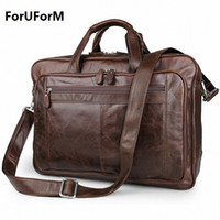 Wholesale Leather Satchel Briefcase Men - Wholesale- Men's Classic Briefcase Genuine Leather Business Office 17 inch Laptop Bag Lawyer Handbag Portfolio Satchel Shoulder bag LI-1266