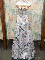 ingrosso cacciatori abiti di promenade arancioni-In magazzino CAMO Prom Dresses 2018 Abito lungo senza spalline Satin White Snowfall True Abito da sera in legno con Hunter Orange Lace-up