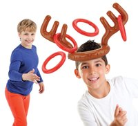 Wholesale Hat Decoration C - Inflatable Reindeer Antler Hat Ring Toss Christmas Holiday Party Game Photo Props Tools Christmas Headband Christmas Gifts