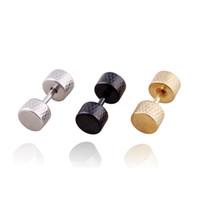 Wholesale Black Titanium Body Jewelry - Fashion Screw Barbell Ear Studs Silver Black Gold Titanium Steel Dumbbell Stud Earrings Piercing Jewelry For Men Women Body Jewelry In Stock